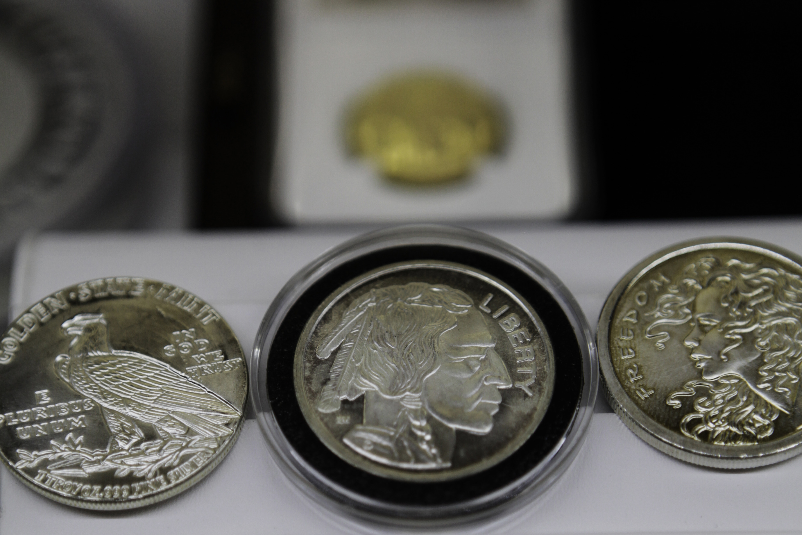 Rare coins are photographed in the Bullion Trading LLC. offices in New York, NY, U.S., on Wednesday, June 10, 2015