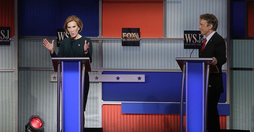 Republican presidential candidates Carly Fiorina (L) and Rand Paul (R) participate in the Republican Presidential Debate hosted by Fox Business and The Wall Street Journal November 10, 2015 in Milwaukee, Wisconsin