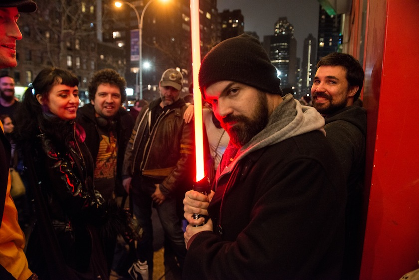 "Fans Line Up To Watch ""Star Wars: The Force Awakens"" In New York City"