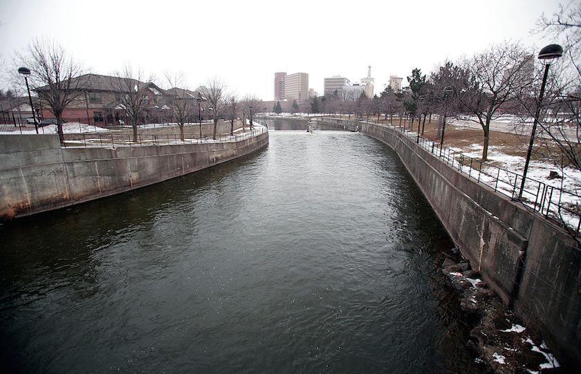 The Flint River flows in downtown in Flint, Michigan