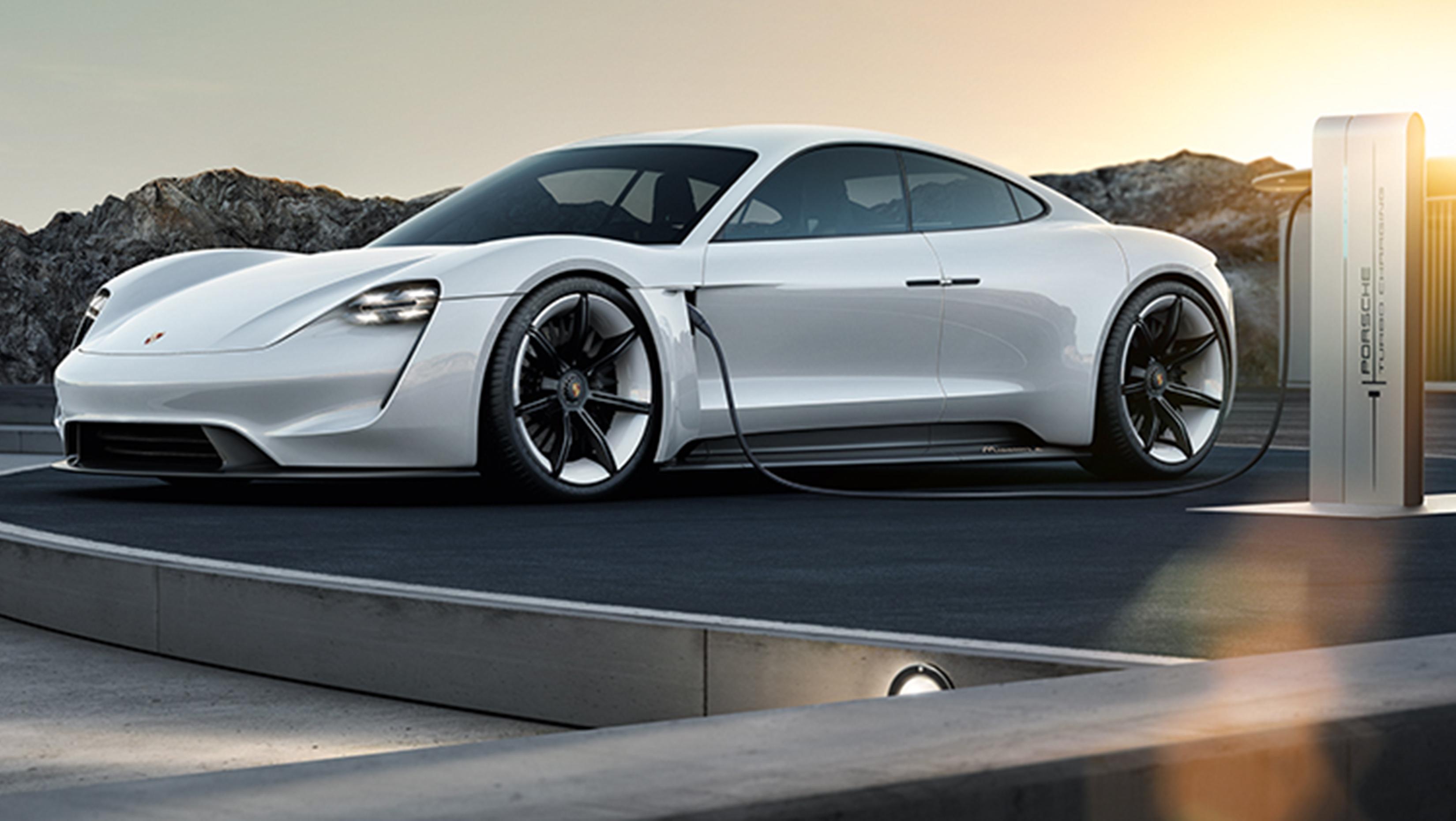 The Porsche Mission E all-electric concept car.