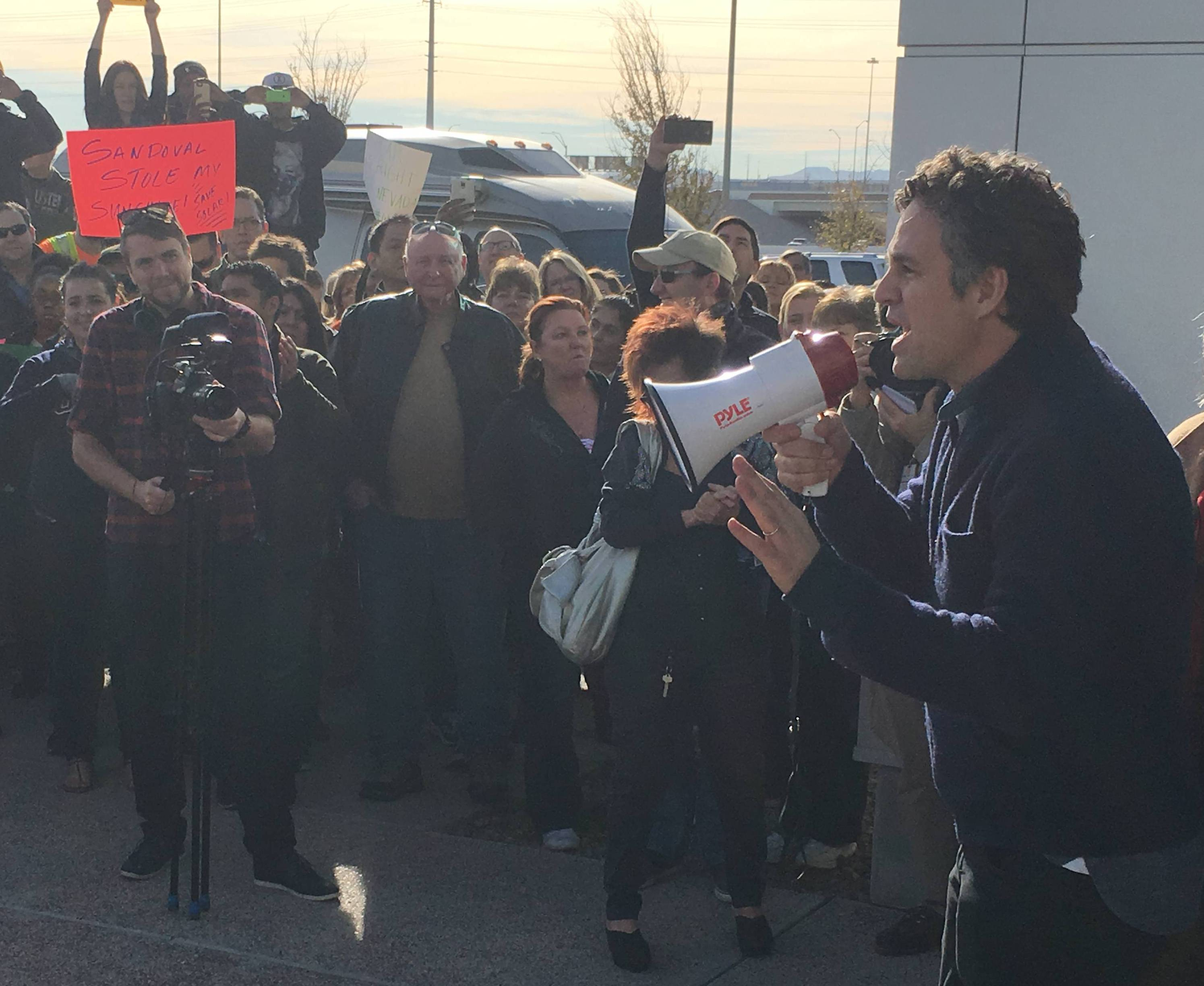 Actor Mark Ruffalo addresses a protest over new solar fees in Las Vegas.
