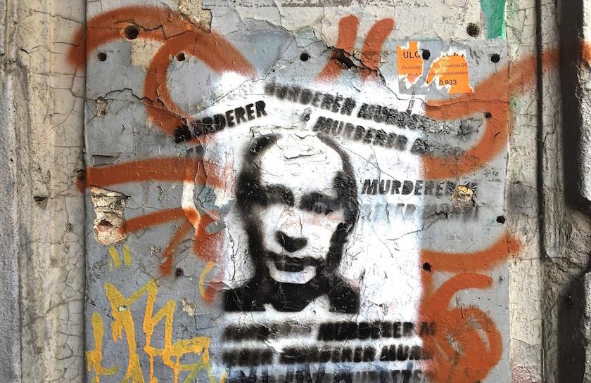 Graffiti in Warsaw depicting Vladimir Putin