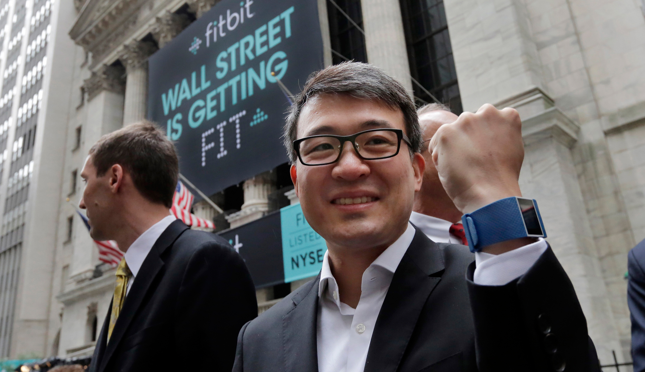 "Fitbit CEO James Park outside the NYSE on the day of his company's IPO in June 2015. ""The pop on the first day really gave the company a lot of great momentum in the press and with employees."""