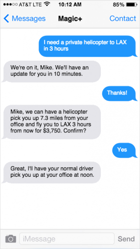 A customer texts a request to the Magic personal assistant service.