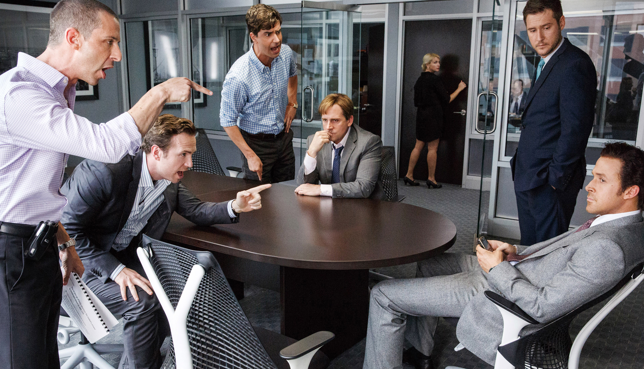 THE BIG SHORT, from left: Jeremy Strong, Rafe Spall, Hamish Linklater, Steve Carell, Jeffry