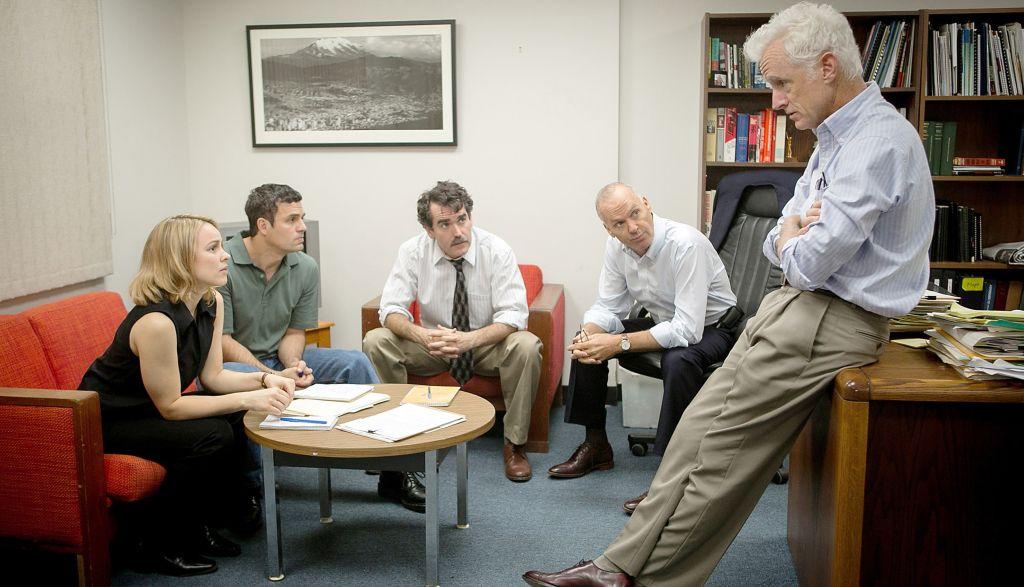 SPOTLIGHT, from left: Rachel McAdams, Mark Ruffalo, Brian d'Arcy James, Michael Keaton, John