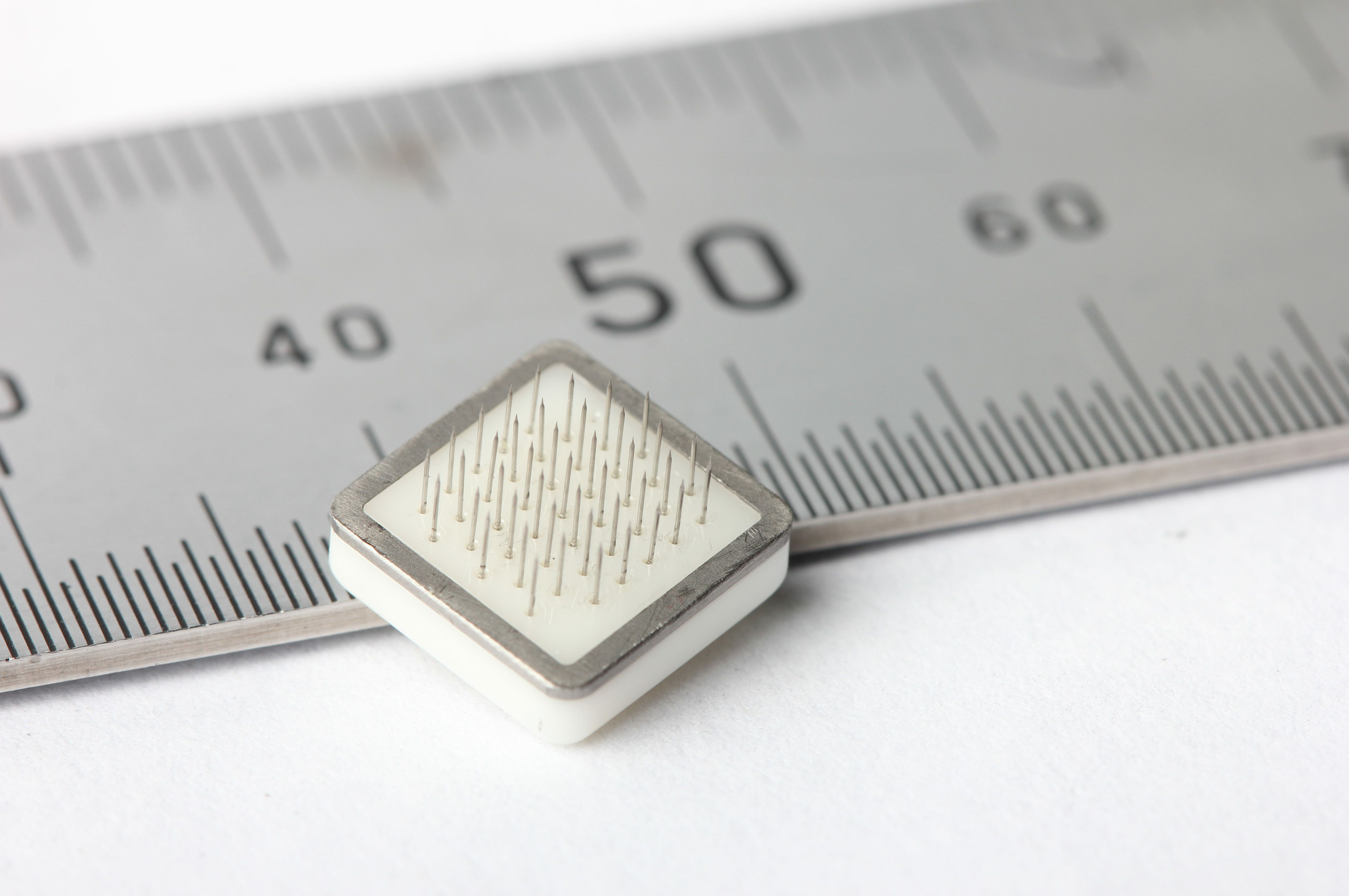 An implantable tile of 43 electrodes would send electrical pulses to the brain through the visual cortex, creating a vision of representative 'dots' for patients who can't see.
