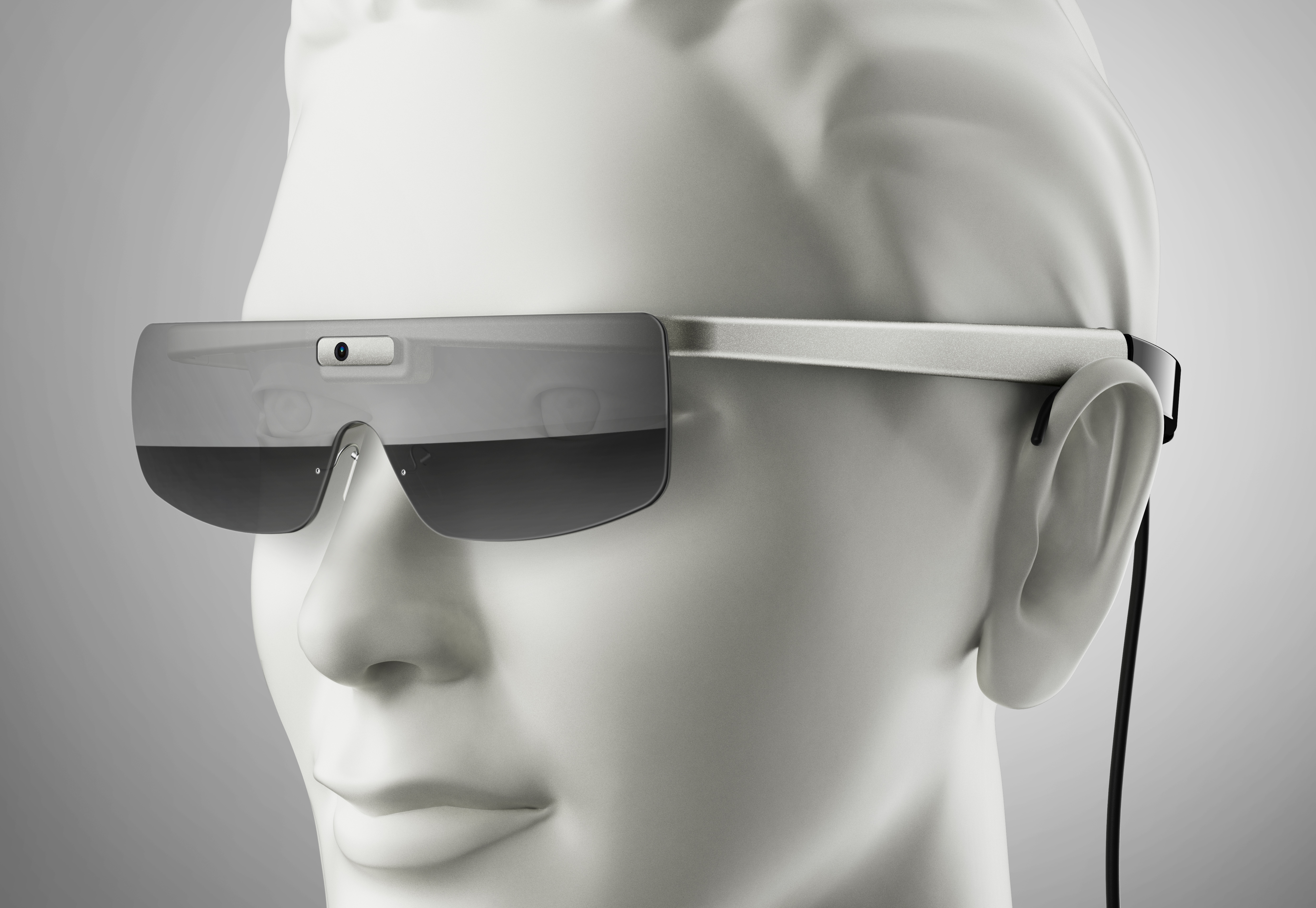 A prototype of the new bionic eyeglasses. The camera on the glasses wirelessly transmits data to the visual cortex at the back of the brain, bypassing the retina entirely.
