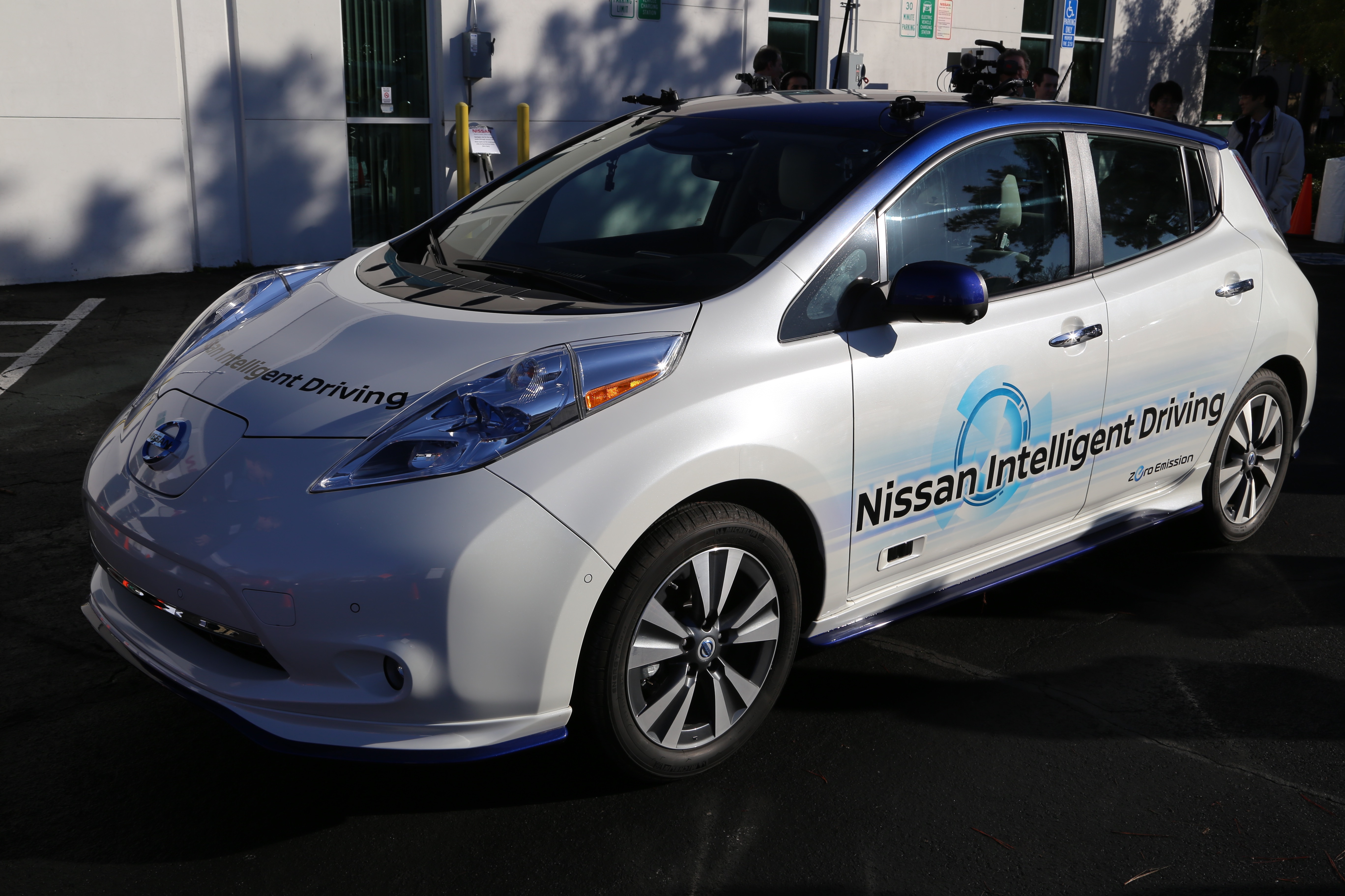 The self-driving Nissan LEAF, outside of Nissan's Silicon Valley Research Center in Sunnyvale, Calif.