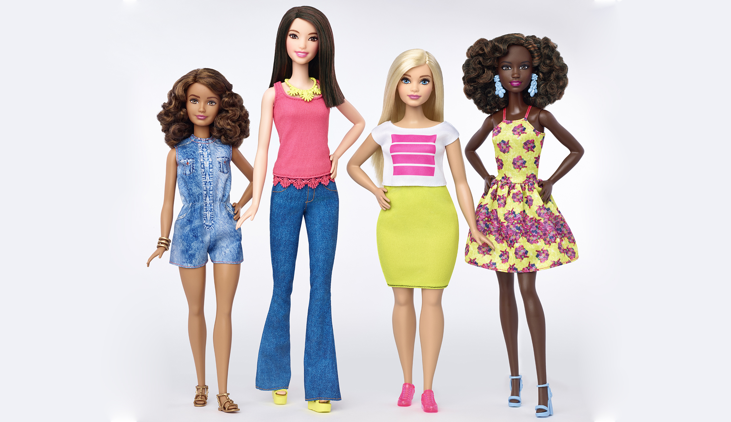 A new Barbie line for 2016 features four body types, seven skin tones, 22 eye colors, 24 hairstyles and of course, new clothes.