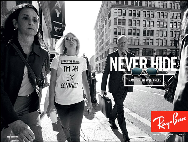 A print advertisement from Luxottica's new Ray-Ban campaign.