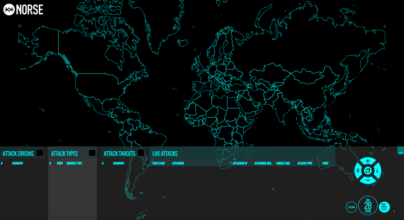 Norse world map of cyber attacks.