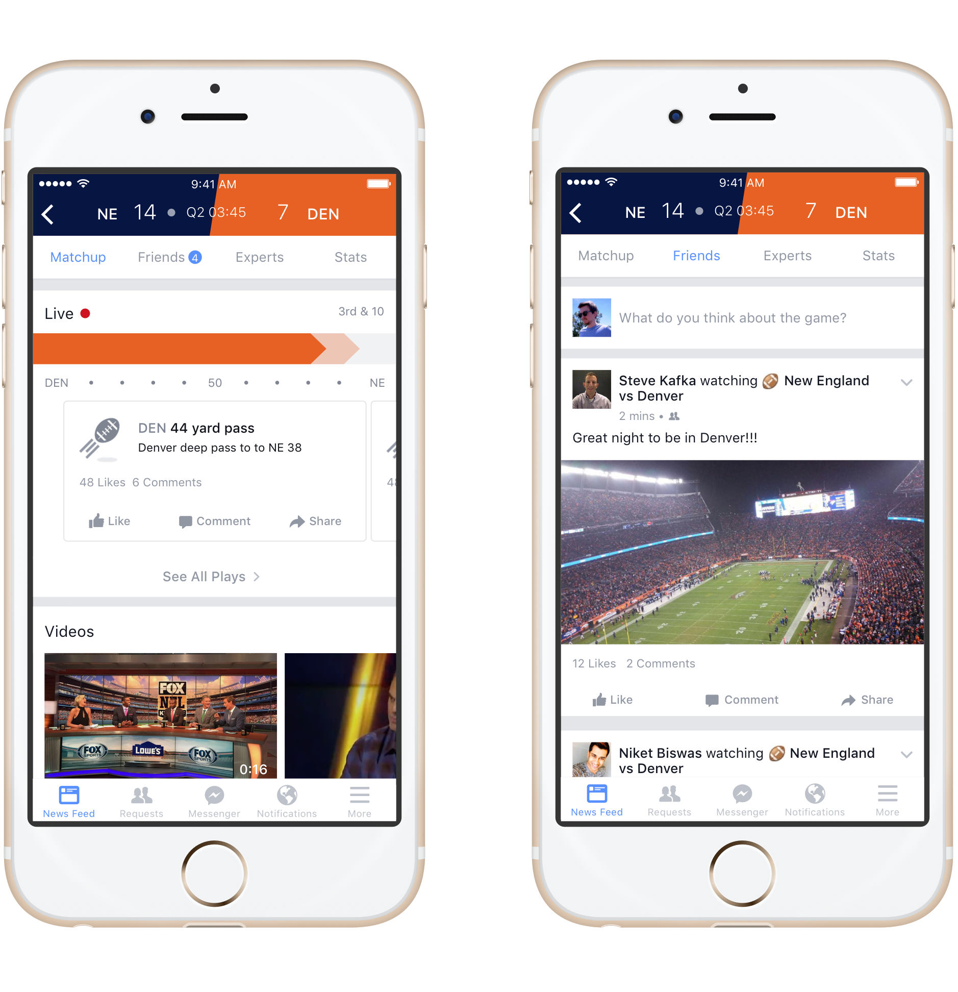 Facebook Sports Stadium's tabs for live matchup and friends' posts.