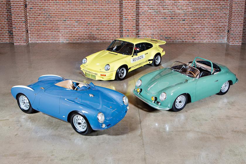 1955 Porsche 550 Spyder, 1958 Porsche 356 A 1500 GS/GT Carrera Speedster and 1974 Porsche 911 Carrera 3.0 IROC RSR