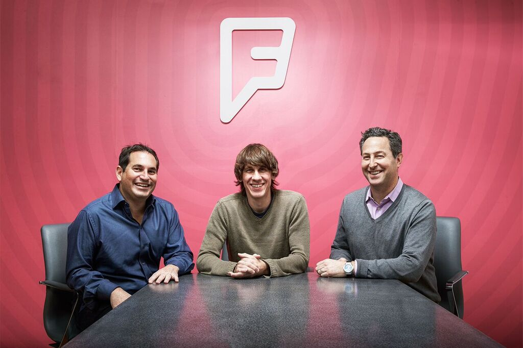 Foursquare's executive team: President, Steven Rosenblatt, founder and Executive Chairman Dennis Crowley, and CEO Jeff Glueck.