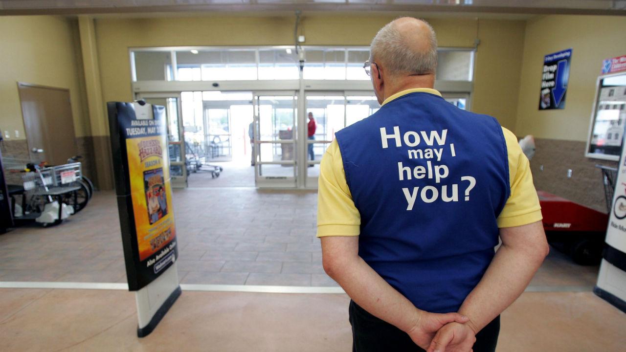 A Walmart greeter