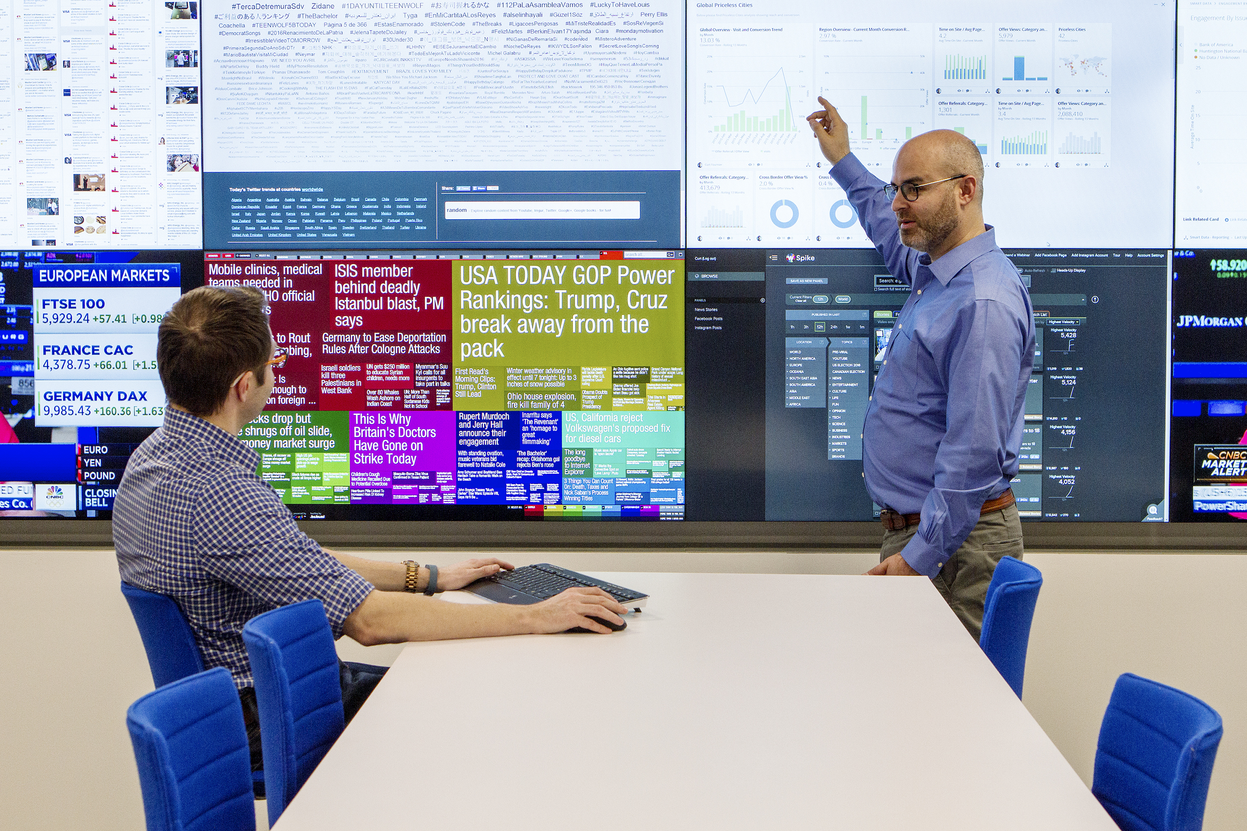 MasterCard workers monitor marketing campaigns inside the company's Conversation Suite.