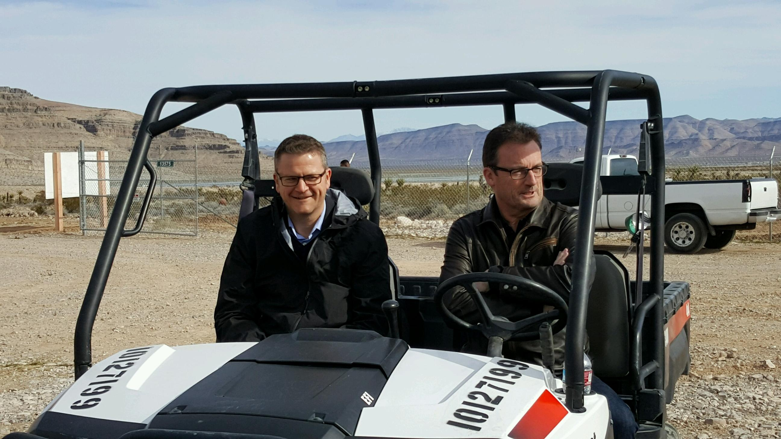 """That's what breaking ground looks like."" Hyperloop Tech CEO Rob Lloyd (right) said of the startup's test site in Nevada."