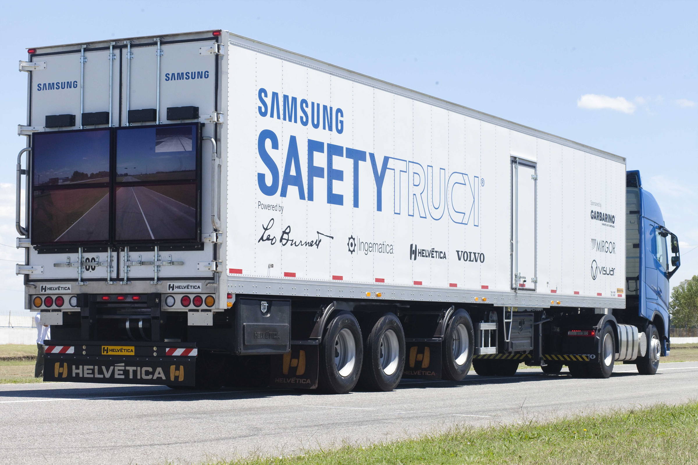 The new 'safety truck' lets vehicles see what's happening on the road ahead.