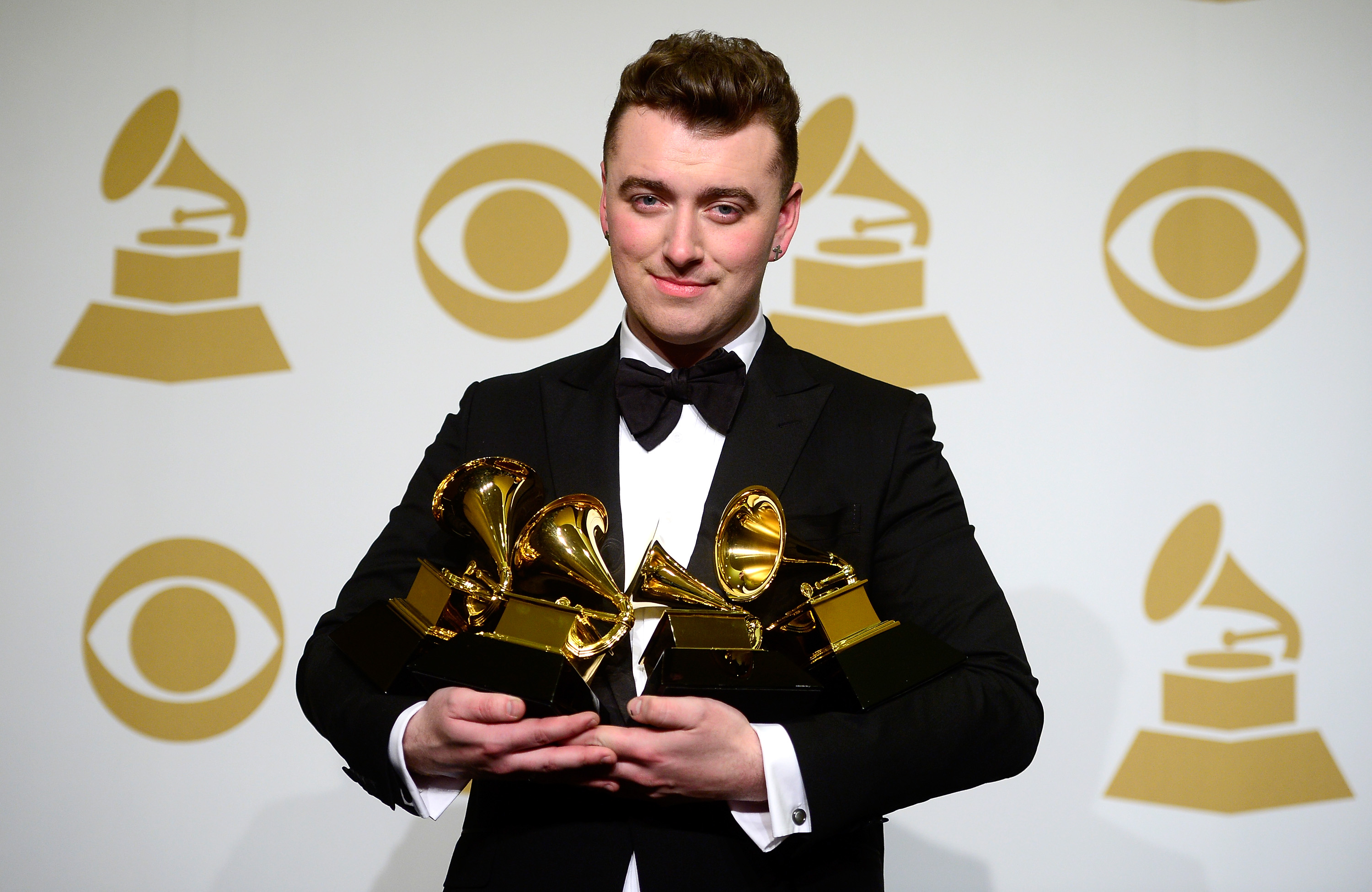 poses in the press room during The 57th Annual GRAMMY Awards at the STAPLES Center on February 8, 2015 in Los Angeles, California.