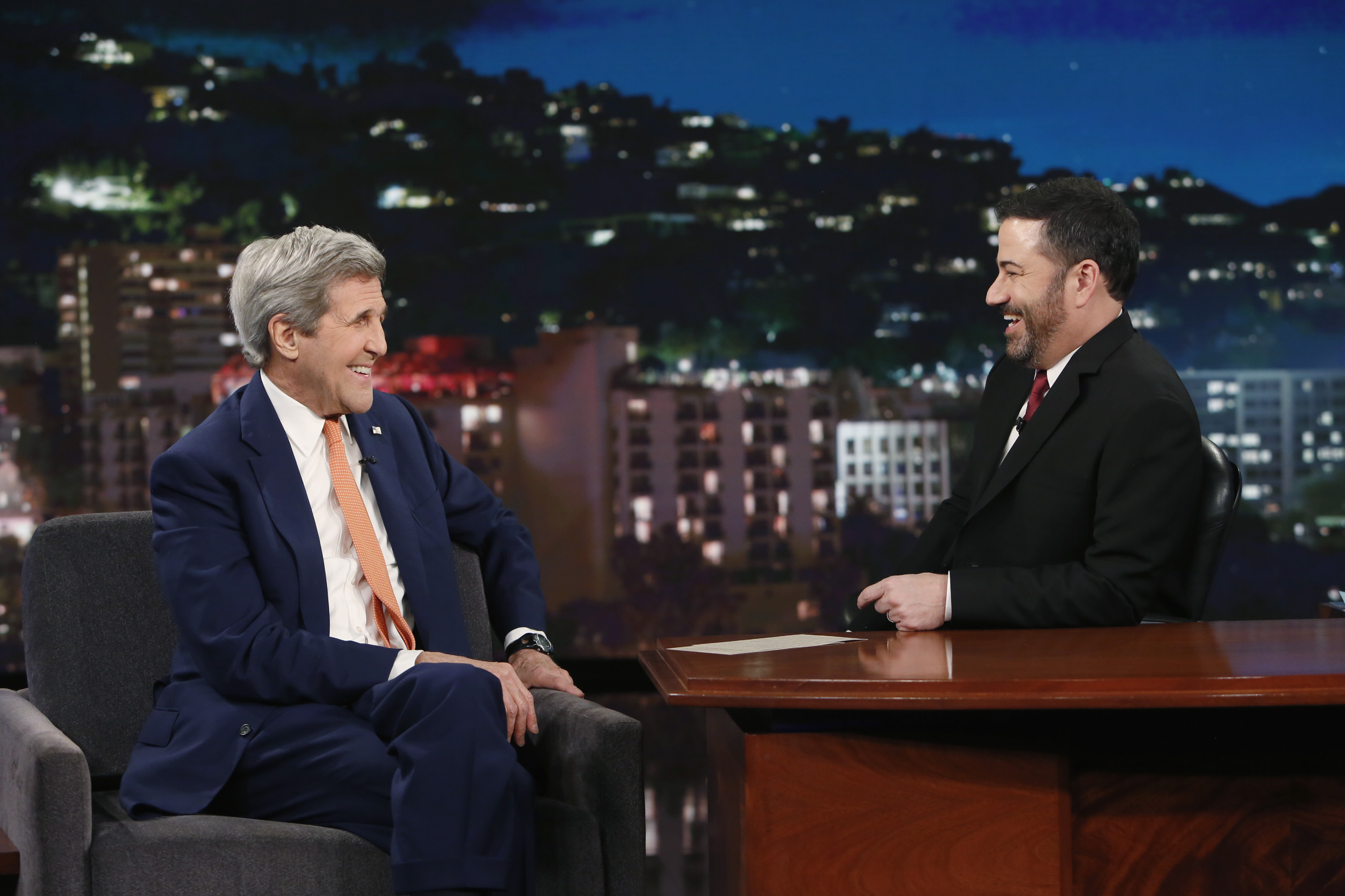 "Secretary of State John Kerry appeared on ""Jimmy Kimmel Live!""."