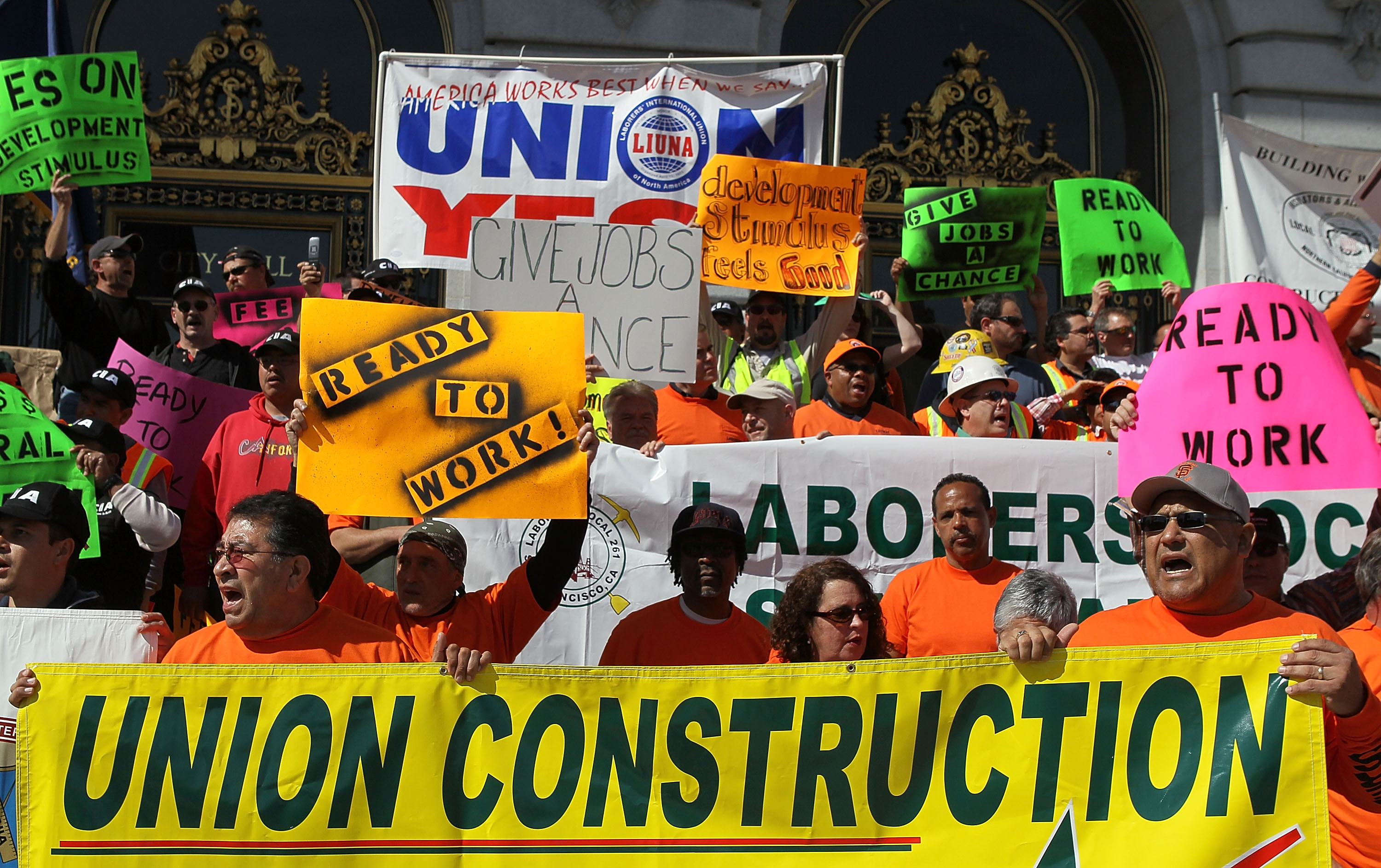 Unions Rally For Stimulus And Jobs Legislation In San Francisco