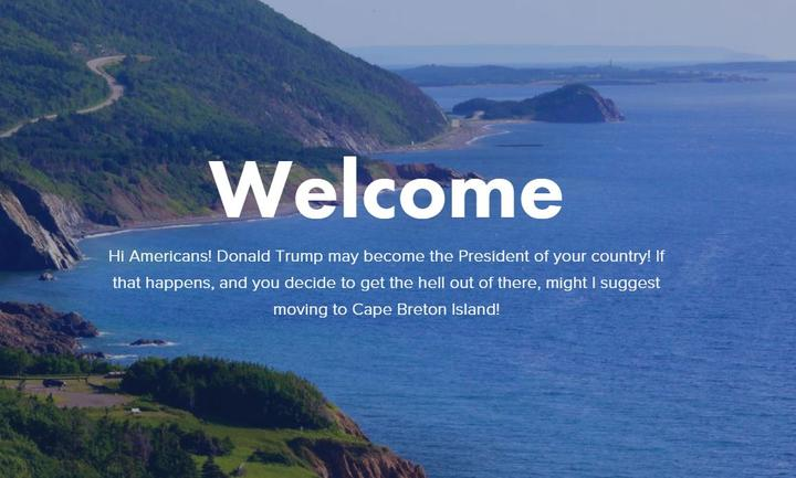 A capture of Cape Breton's welcome to all Americans.