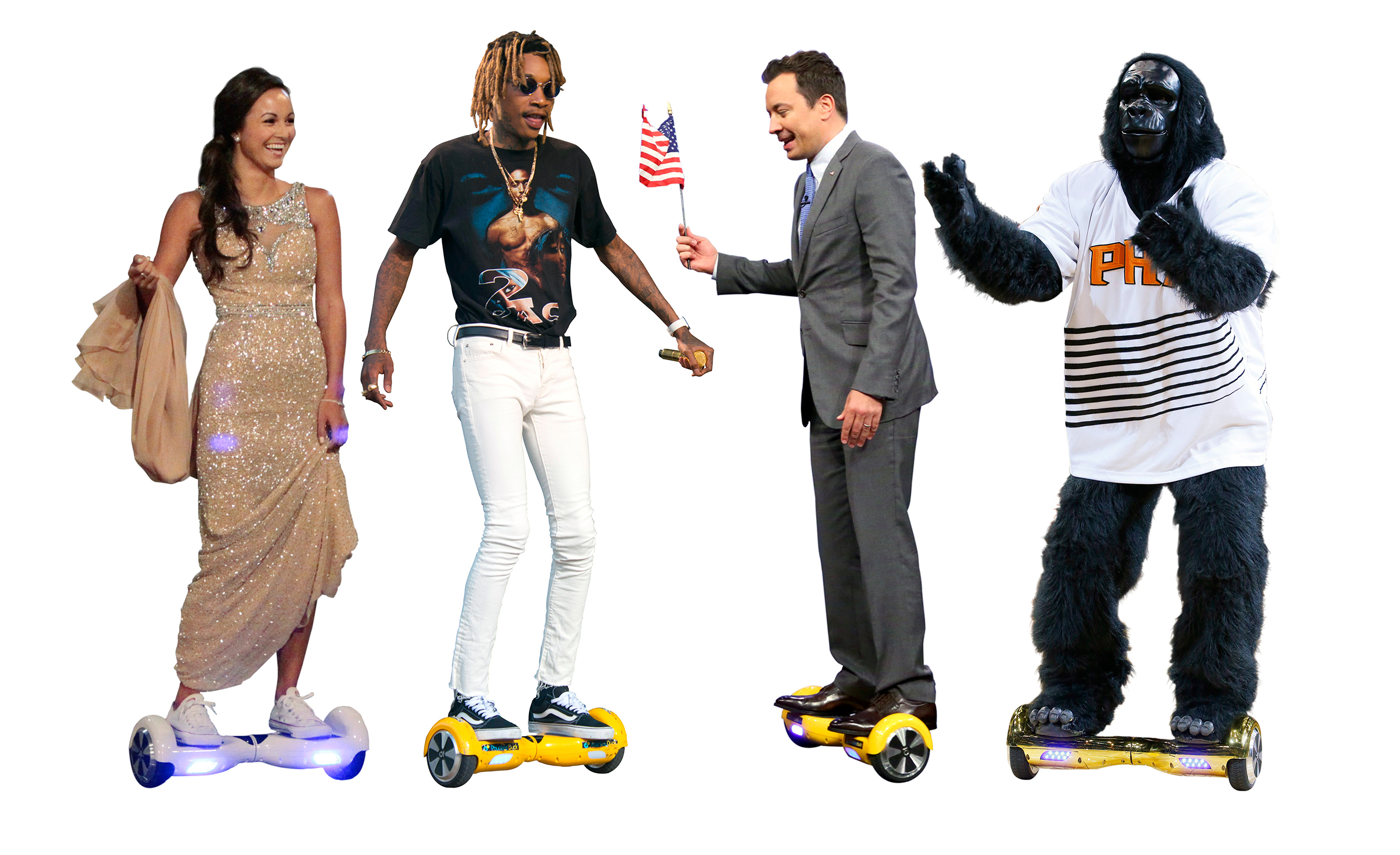 """Hoverboard riders include, from left: a contestant on """"The Bachelor"""", Wiz Khalifa, Jimmy Fallon and the Phoenix Sun's mascot """"The Gorilla."""""""