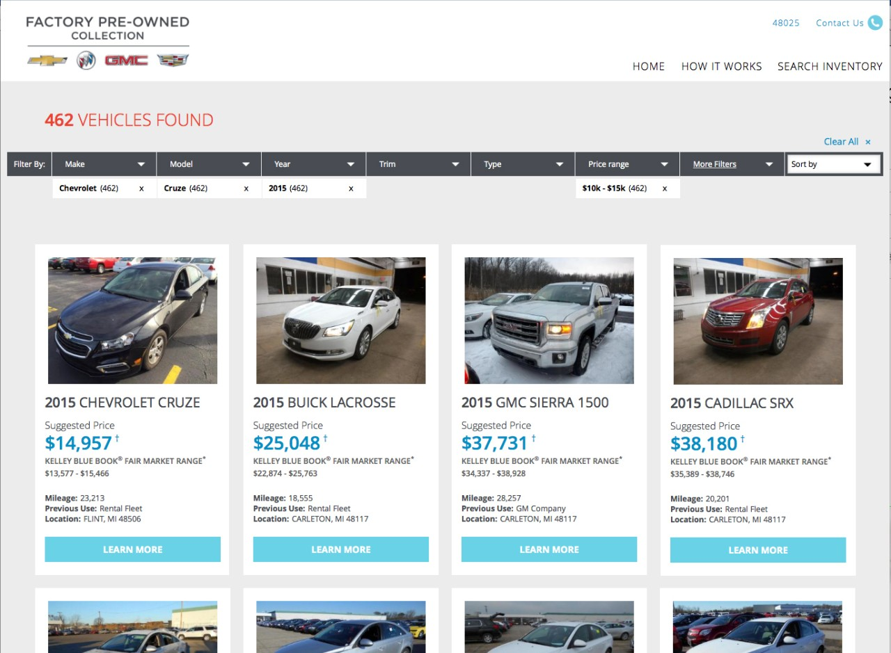 GM has launched a online used car sales site.