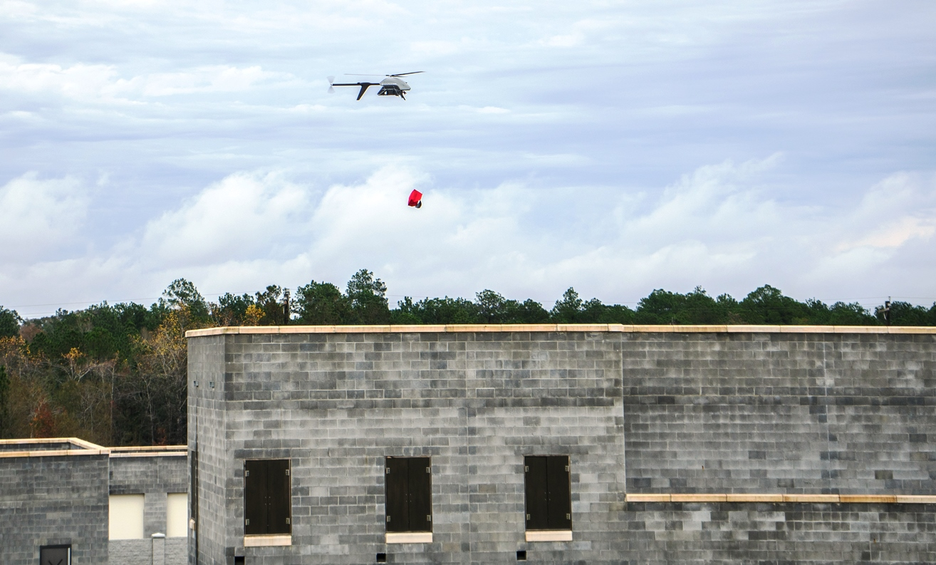 A Pulse Aerospace unmanned helicopter successfully completes a medical supply test drop at Camp Shelby in January.