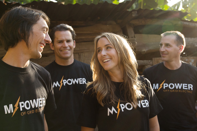 Off Grid Electric team members Xavier Helgesen (left), Bill Lenihan, Erica Mackey and Joshua Pierce (far right)