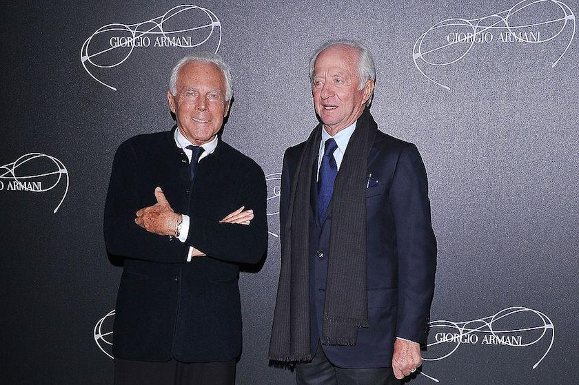 Giorgio Armani and Leonardo Del Vecchio attend Giorgio Armani - Luxottica Event on February 23, 2013 in Milan, Italy.