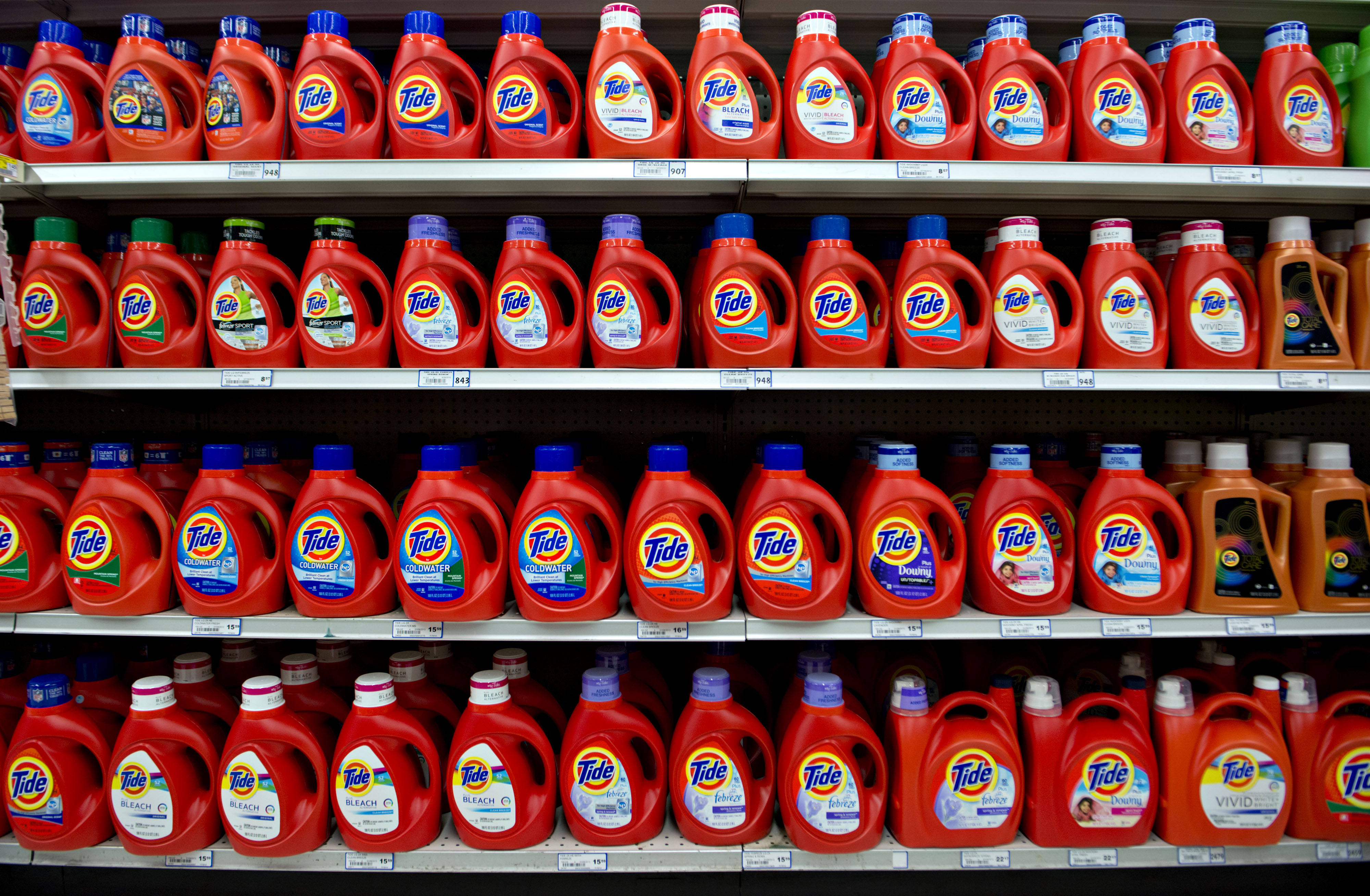 Online sales of laundry detergent are dominated by Tide.