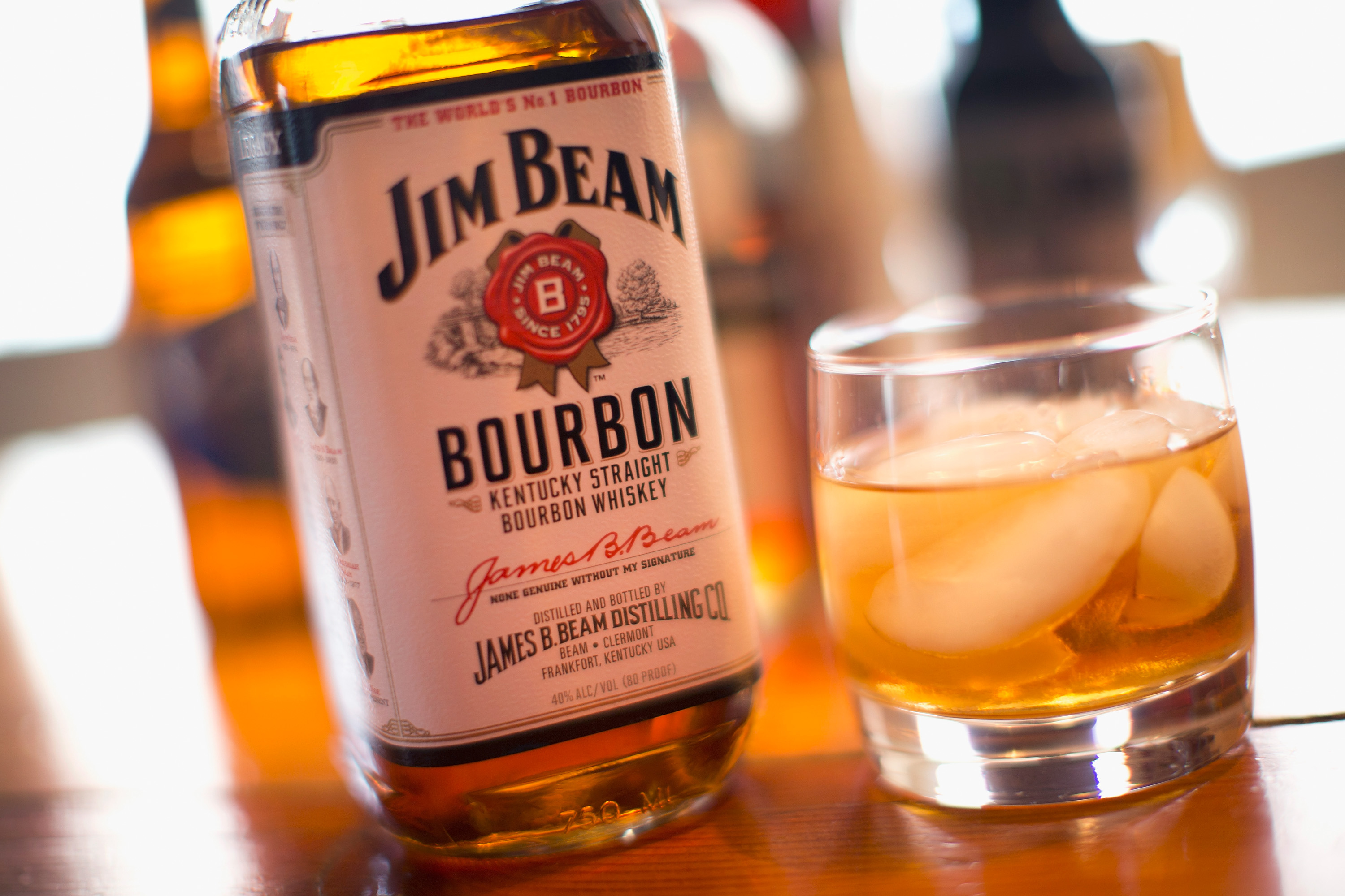 Jim Beam bourbon is shown on Feb. 3, 2015 in Chicago, Illinois.