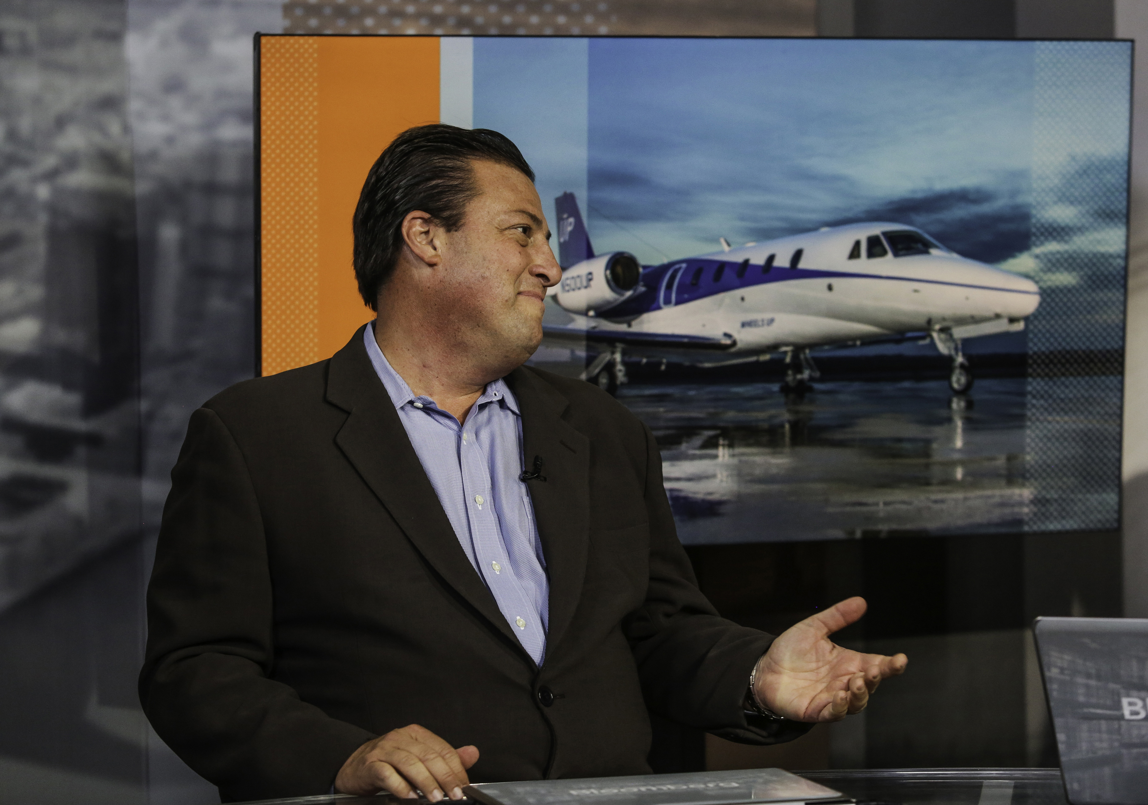 Kenny Dichter, founder and chief executive officer of Wheels Up, speaks during a Bloomberg Television interview in New York, U.S., on Thursday, Oct. 1, 2015. Dichter discussed the growth prospects for the membership-based private aviation company, which he said will have 55 planes in its fleet by the end of the year. Photographer: Chris Goodney/Bloomberg *** Local Caption *** Kenny Dichter