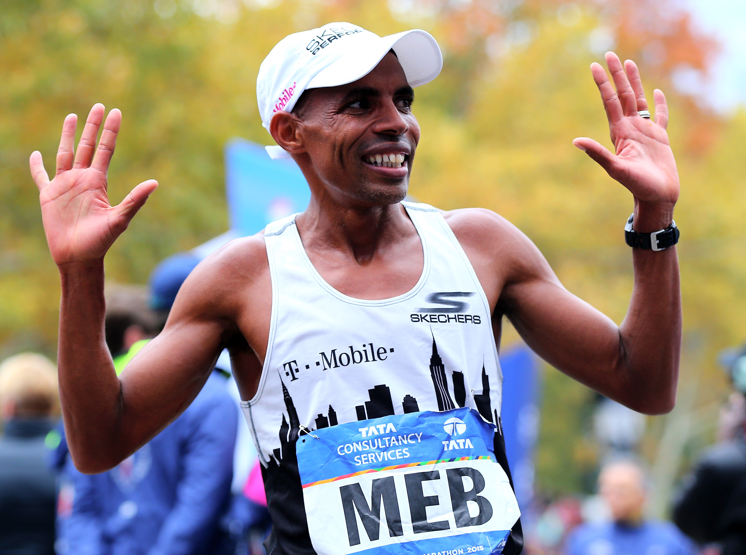 during the TCS New York City Marathon on November 1, 2015 in New York City.