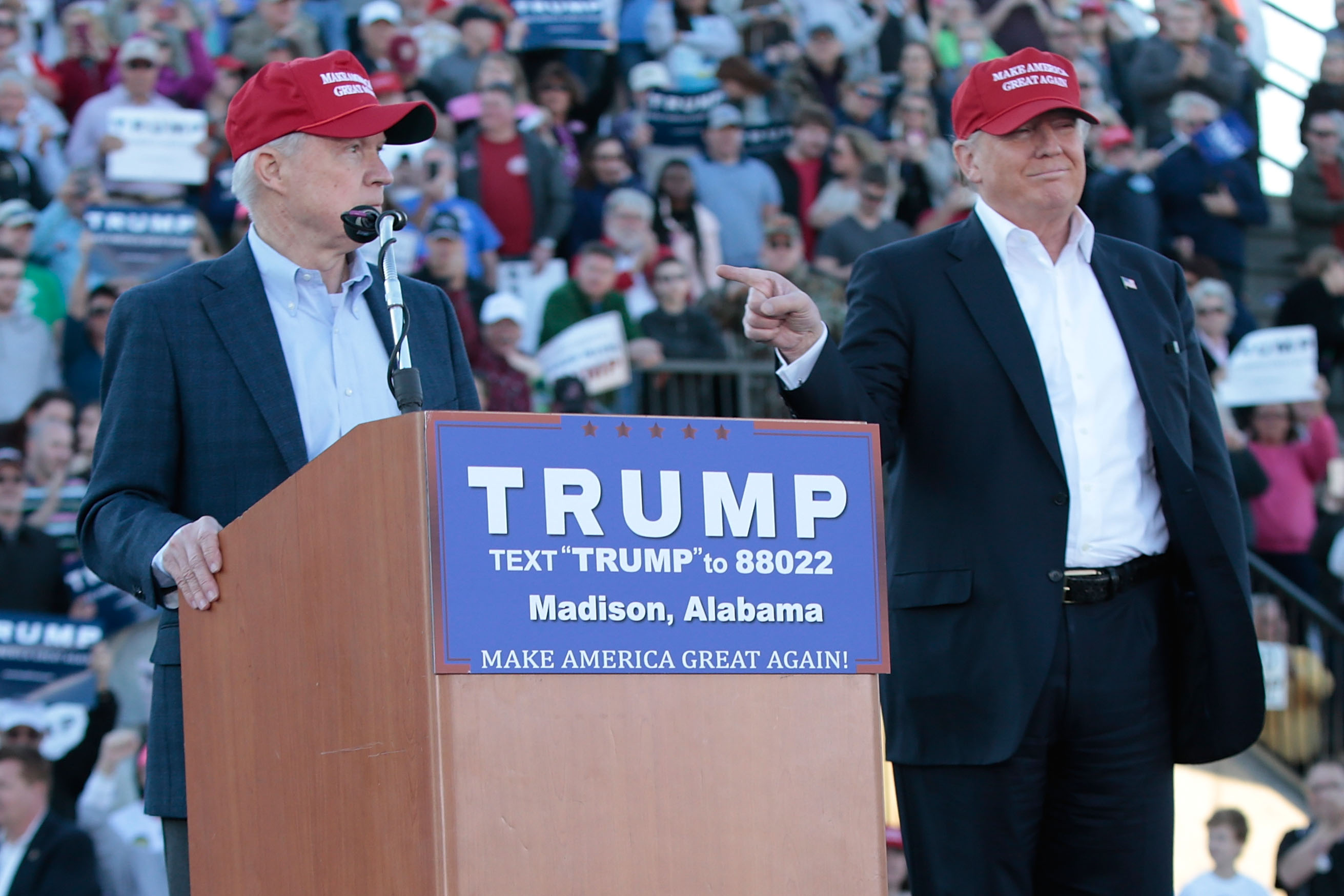 Republican Presidential Candidate Donald Trump Holds Primary Election Rally In Alabama
