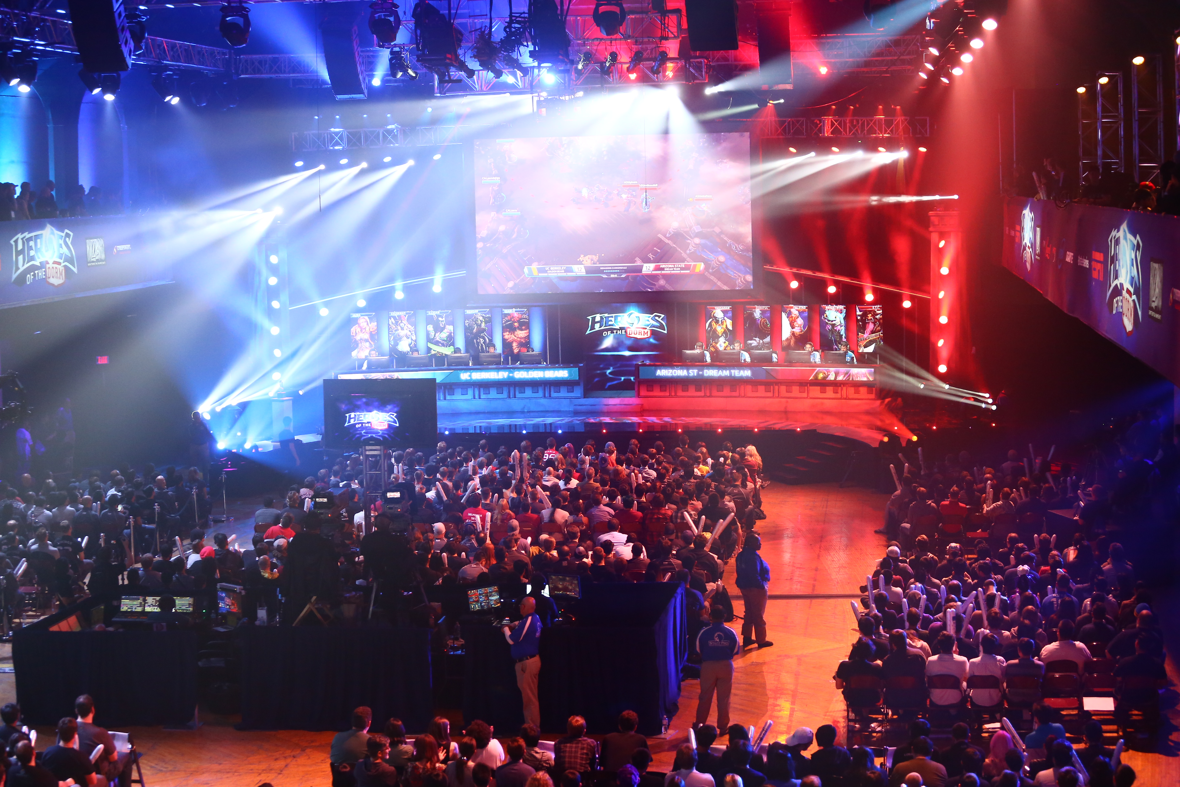 "UC Berkeley faced off against Arizona State University in the ""Heroes of the Dorm"" Grand Finals at the Shrine Auditorium in Los Angeles."