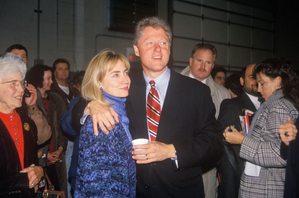Bill and Hillary Clinton at a St. Louis campaign rally in 1992, Bill Clinton's final day of campaigning in St. Louis, Missouri