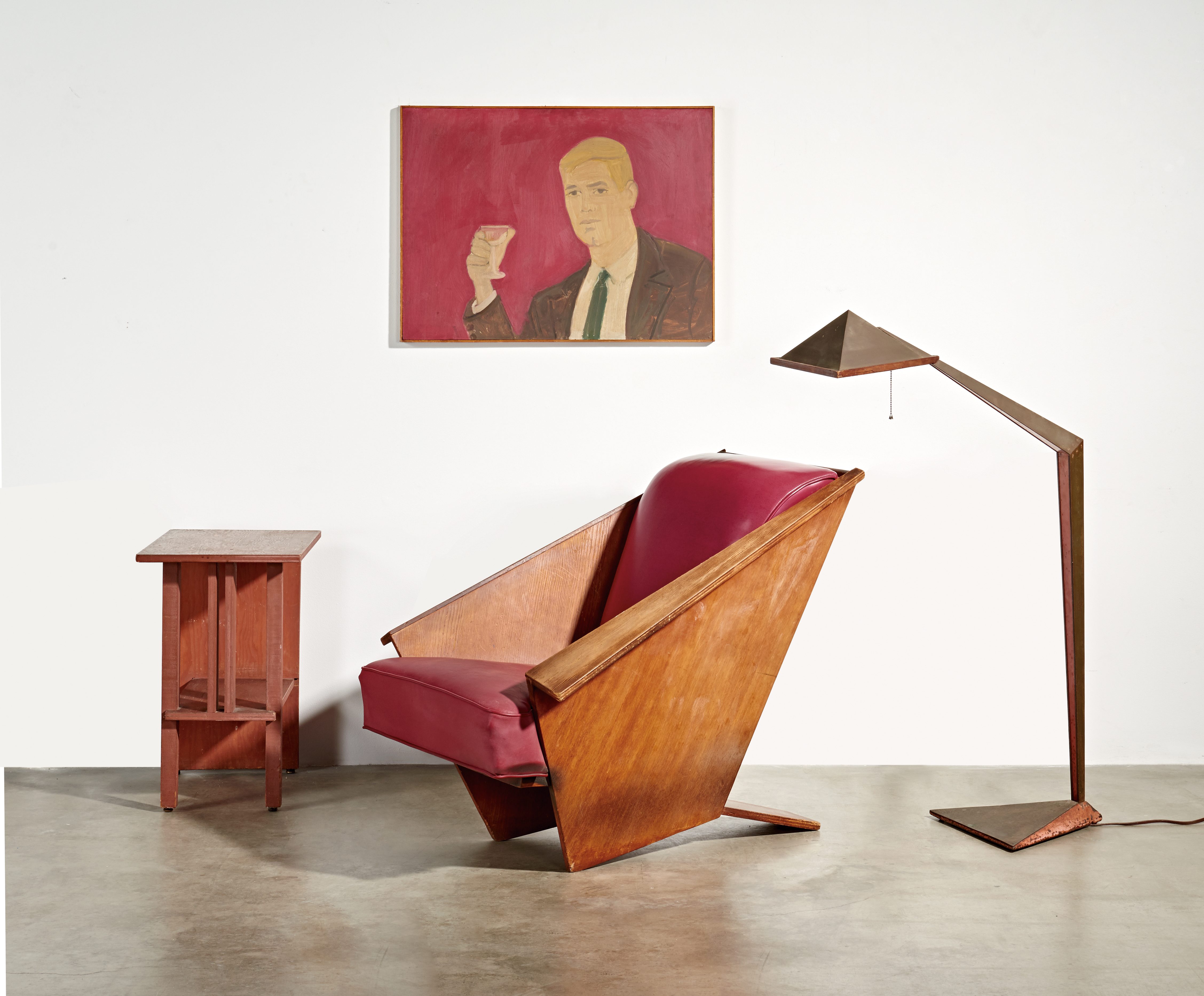 """""""Origami"""" lounge chair, """"Origami"""" lamp, and side table. Art by Alex Katz """"Here's to You"""" (1962), all to be sold at auction to benefit The Bridges/Larson Foundation."""