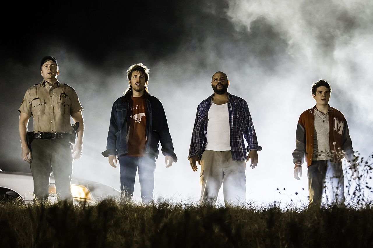 "After stumbling across an alien crash site, four small-town misfits must use an extraterrestrial battle suit to save mankind in Rooster Teeth's ""Lazer Team."""