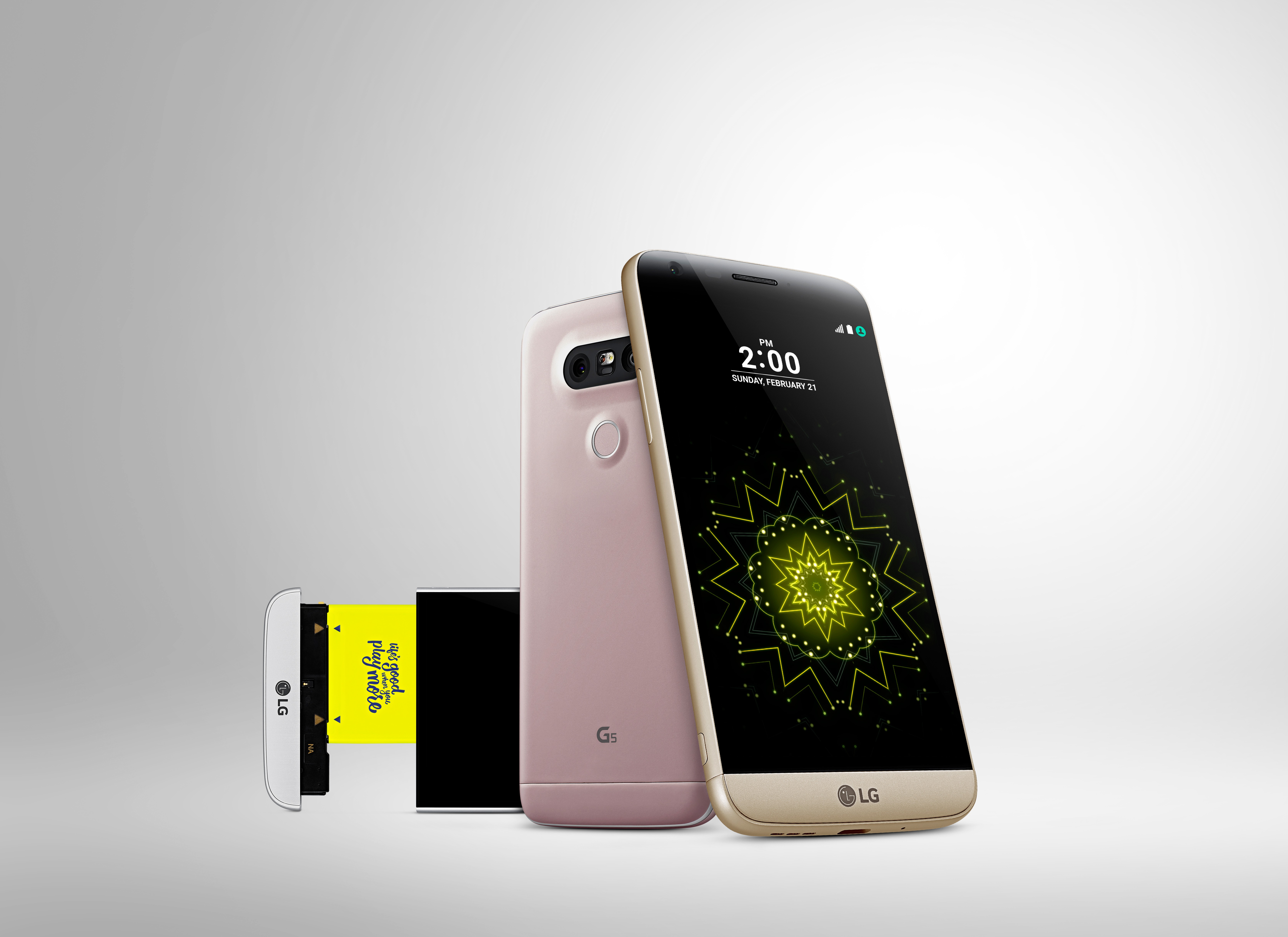 The LG G5 has a 'chin' for swapping out parts like batteries and cameras.
