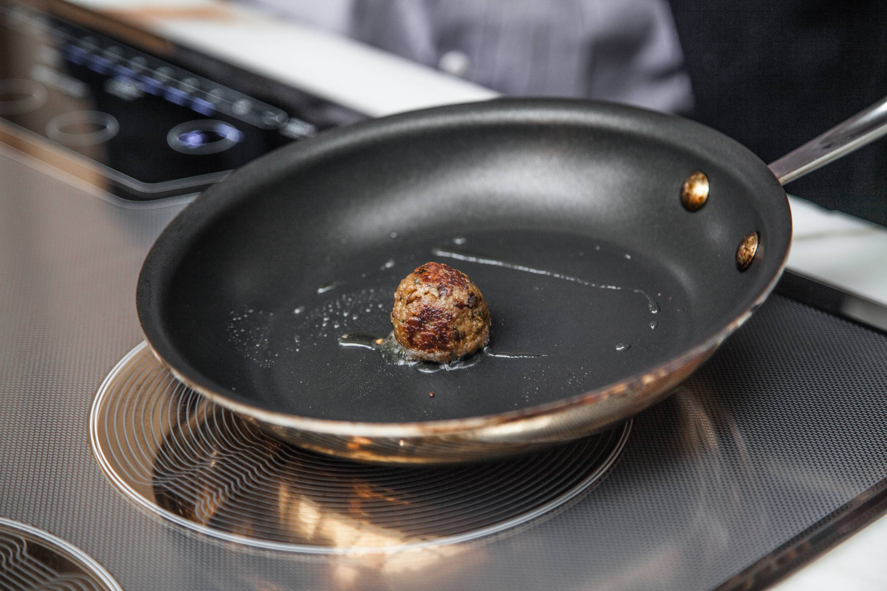 Meatball made from beef grown with stem cells.