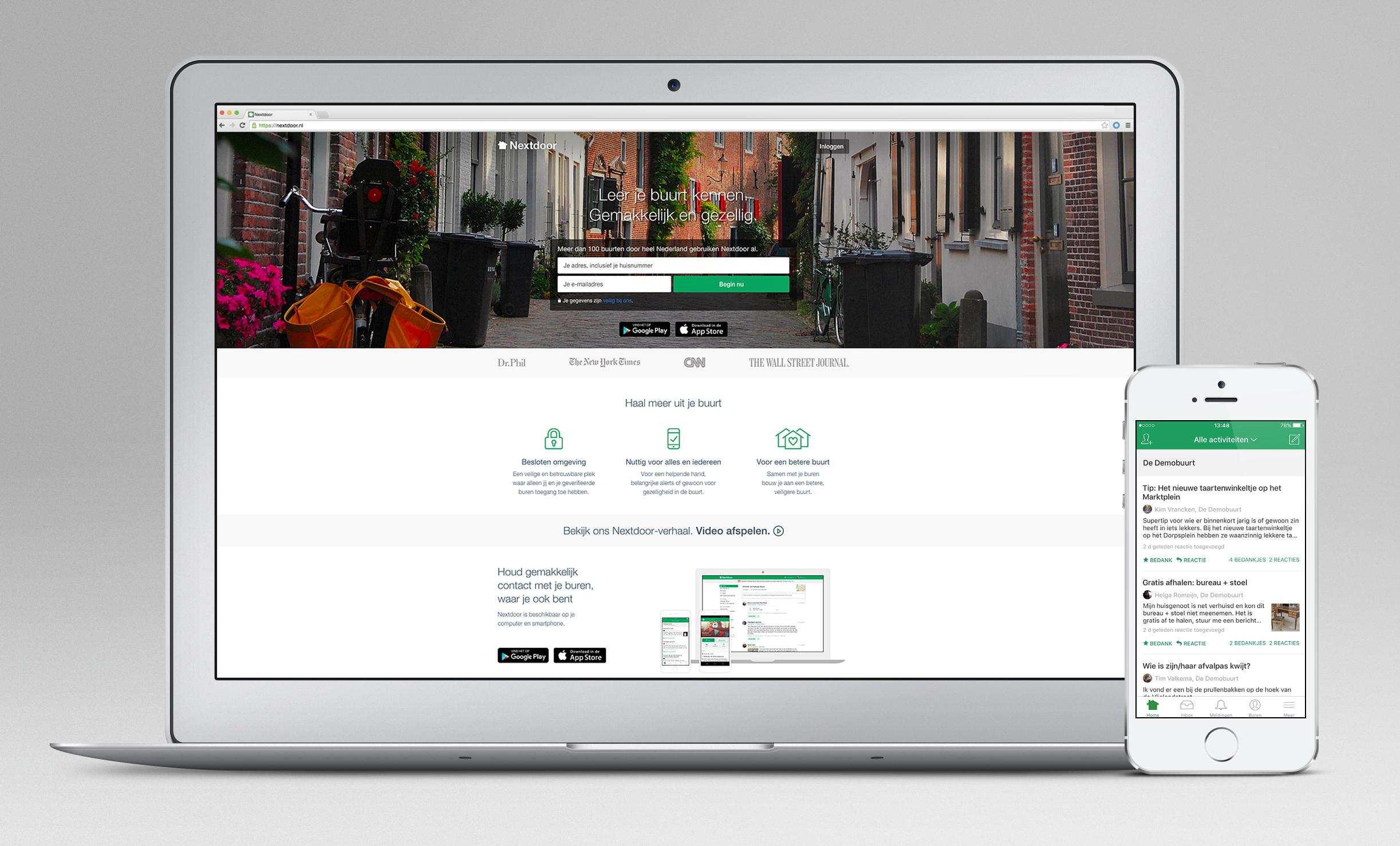 Social networking site Nextdoor launches its neighborhood service in the Netherlands.