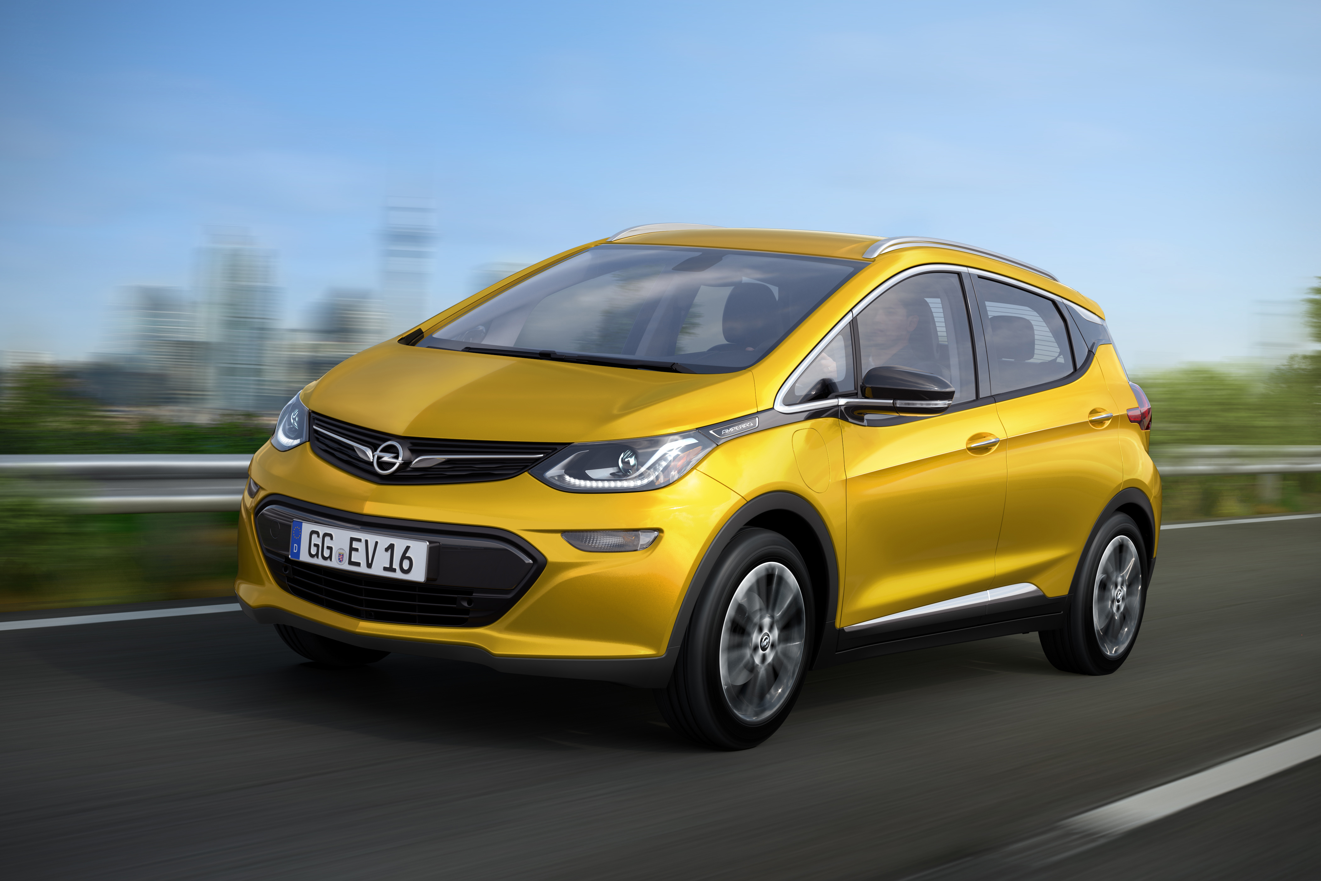 GM Chairman and CEO Mary Barra introduced the all-electric Opel Amepera-e,  Feb. 11 at the CAR Symposium in Germany.