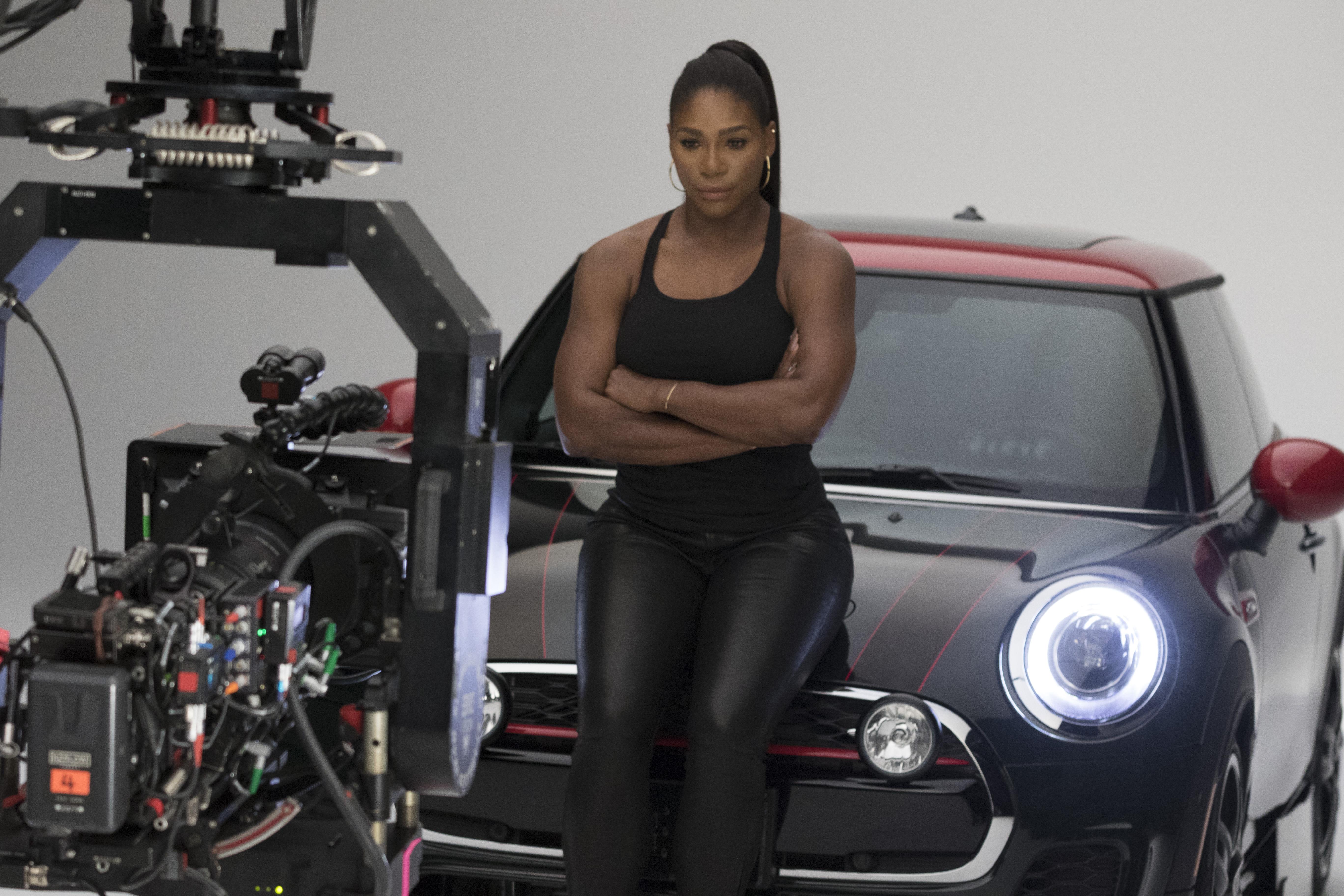 """Serena Williams in MINI's new Super Bowl ad campaign, """"Defy Labels."""""""