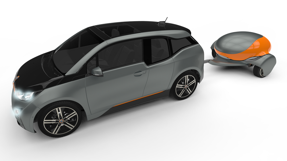 A rendering of the mobile battery charging trailer made by Nomadic Power.