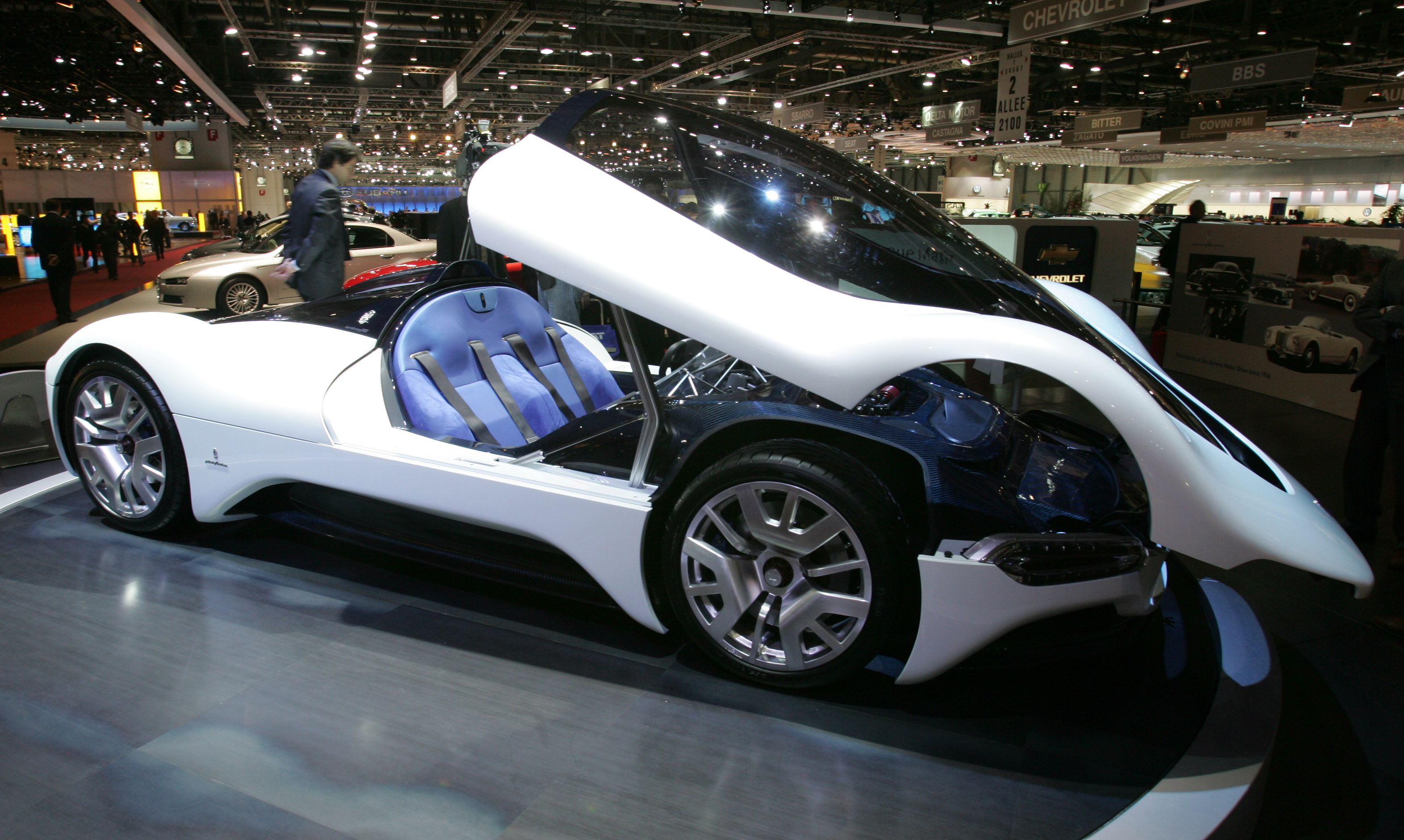 A Maserati Birdcage 75th concept car is on display during its world debut at the Geneva Motor Show.