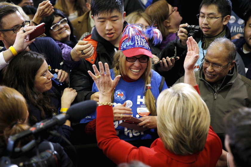 Democratic U.S. presidential candidate Hillary Clinton meets supporters after speaking at a Get Out the Caucus event at the Valley Southwoods Freshman High School in West Des Moines, Iowa